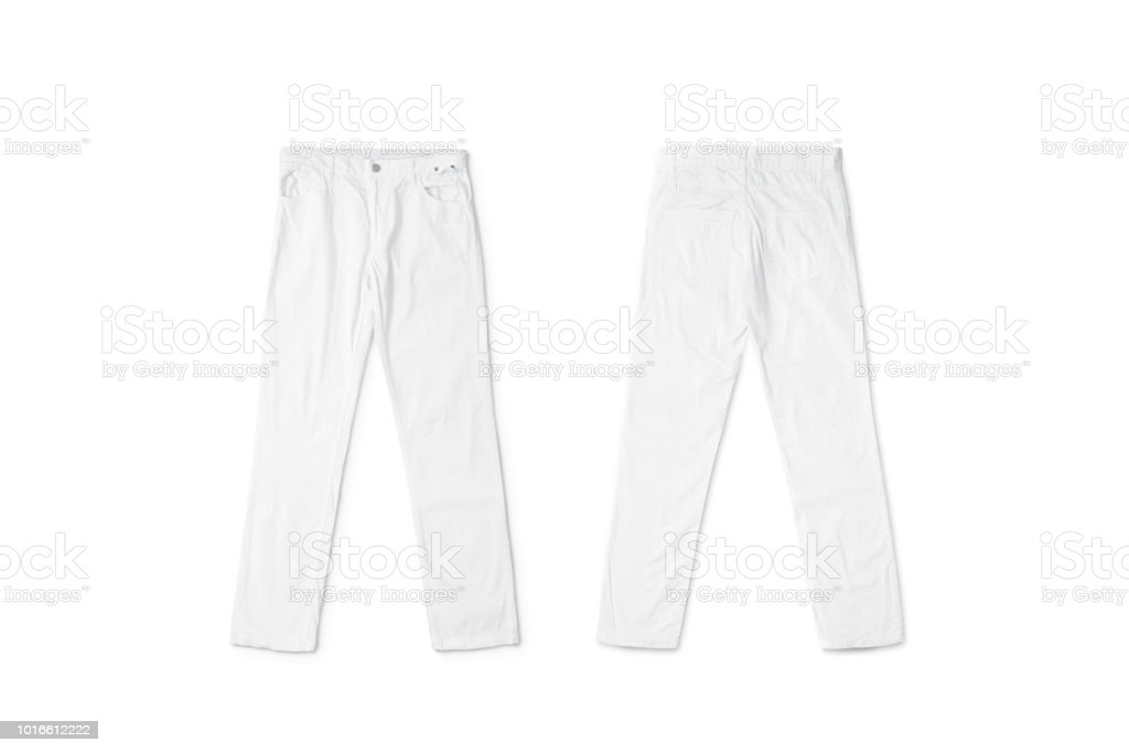 Blank white pants lying mock up, front and back side royalty-free stock photo