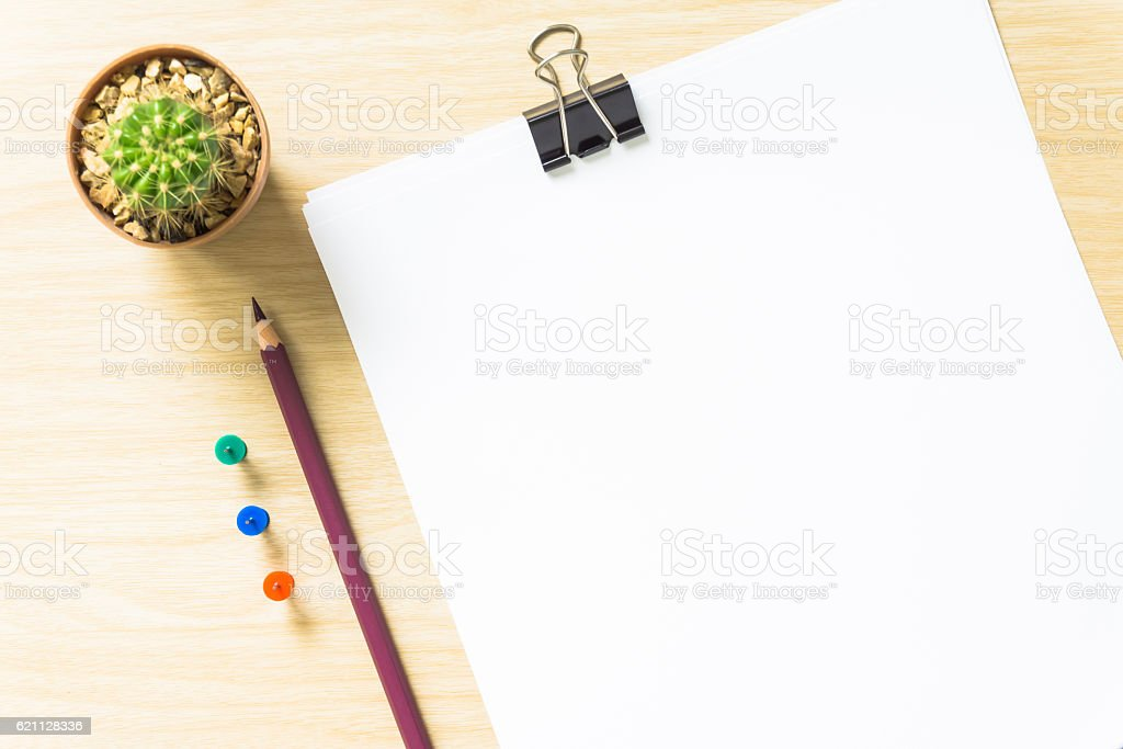 blank white paper and pencil on desk stock photo