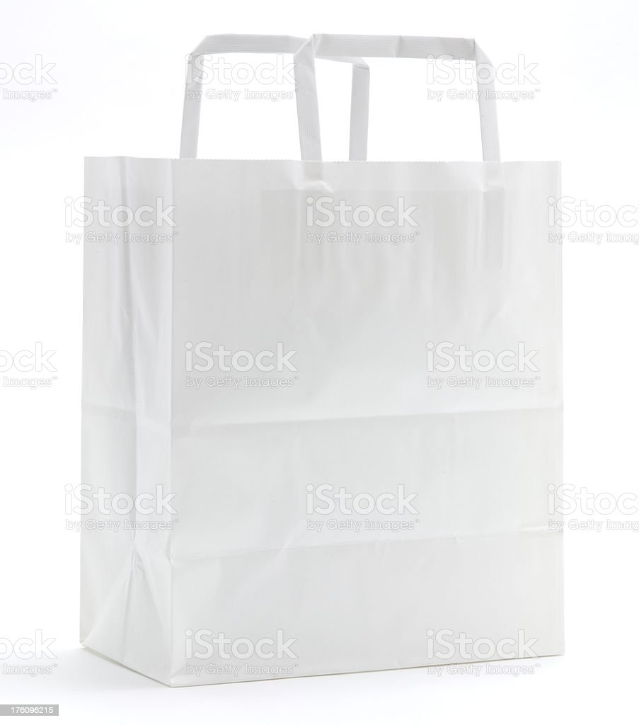 Blank white paper bag isolated royalty-free stock photo