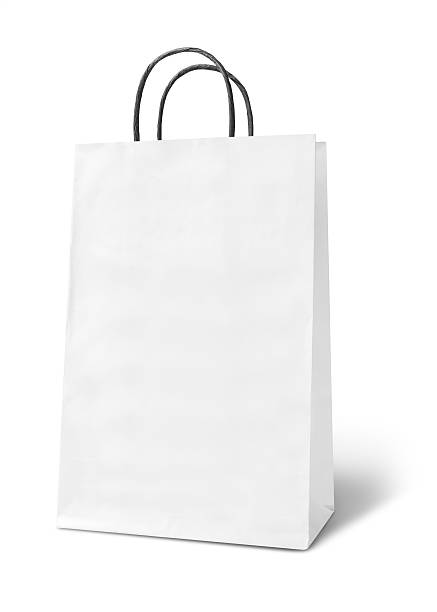 Blank white paper bag stock photo