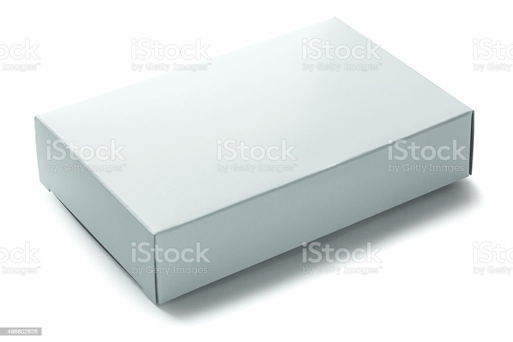 blank white paper box isolated on white background stock photo