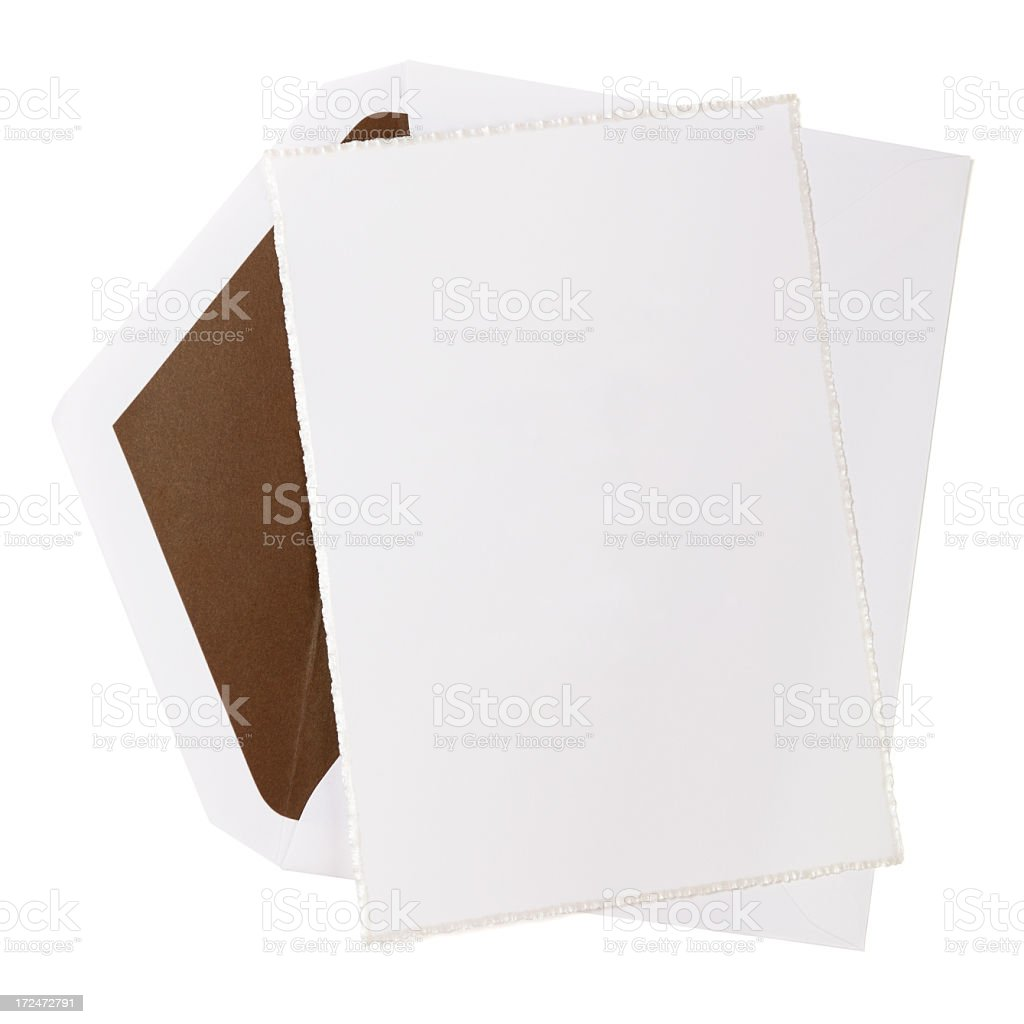 Blank white paper card and envelope stock photo