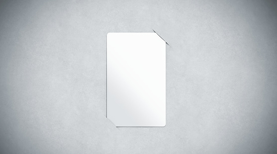 Blank white paper card holder mock up top view, 3d rendering. Empty plastic card inside paper sheet mockup. Customer loyal booklet template