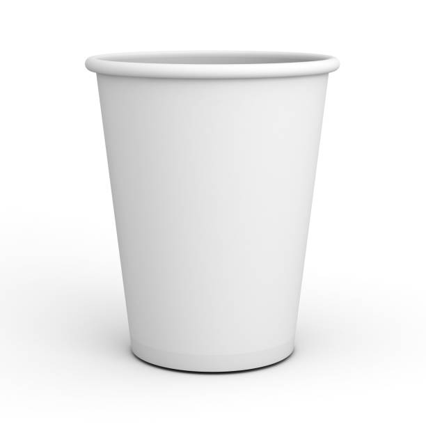 Blank white paper cup close up isolated on white background with shadow . 3D rendering Blank white paper cup close up isolated on white background with shadow . 3D rendering. disposable cup stock pictures, royalty-free photos & images