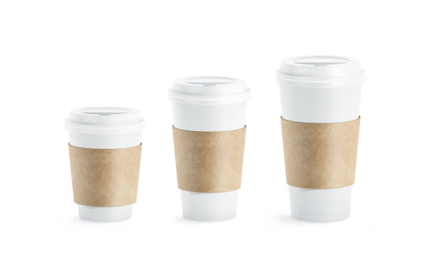 Blank white paper cup with craft sleeve holder mockup set stock photo