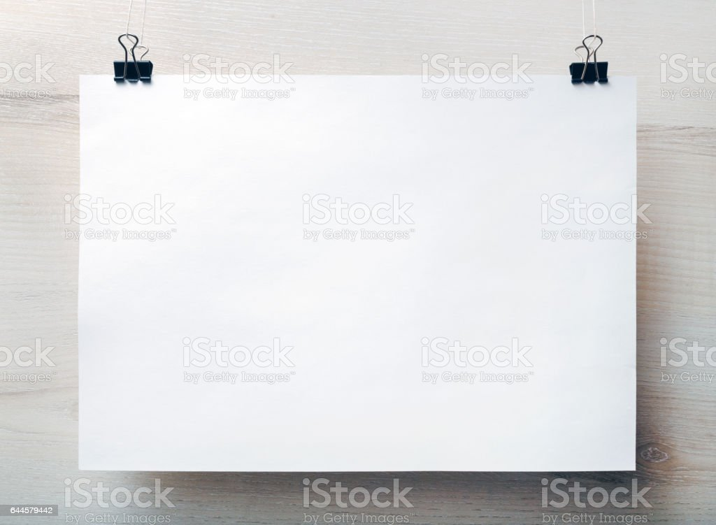 Blank white paper poster stock photo