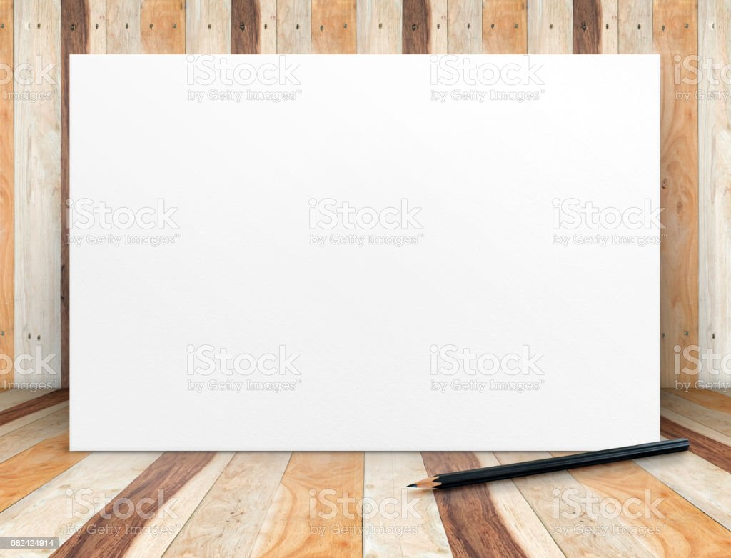 Blank white paper poster with pencil at wooden plank room,Mock up template for adding your content or design,Business presentation royalty-free stock photo