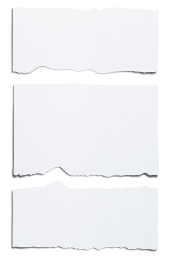 Blank White Paper Ripped Horizontally Into Three Pieces ...