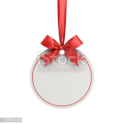 istock Blank white paper round christmas ball frame tag label card template hanging with shiny red ribbon and bow isolated on white background for christmas decoration 3D rendering 1076812248