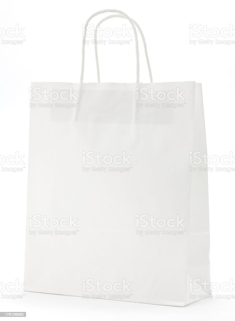 Blank white paper shopping bag isolated royalty-free stock photo