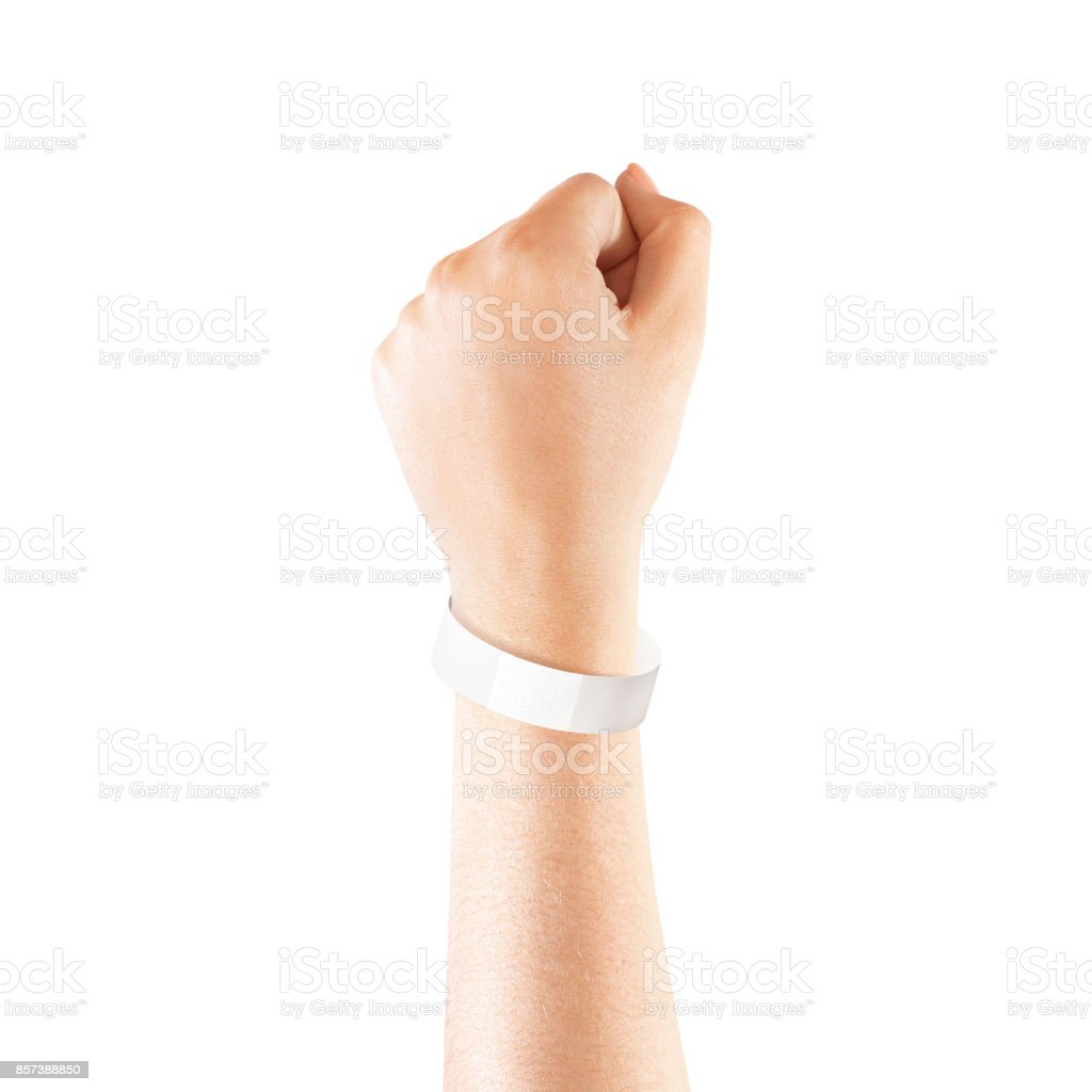 Blank white paper wristband mock up on persons arm stock photo