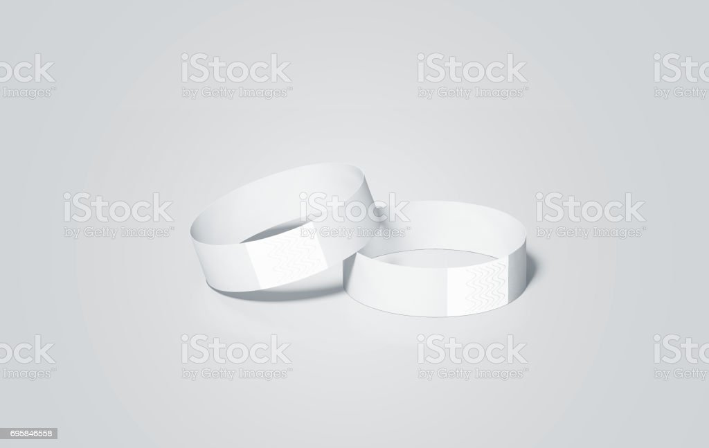 Blank white paper wristbands mock ups, 3d rendering stock photo