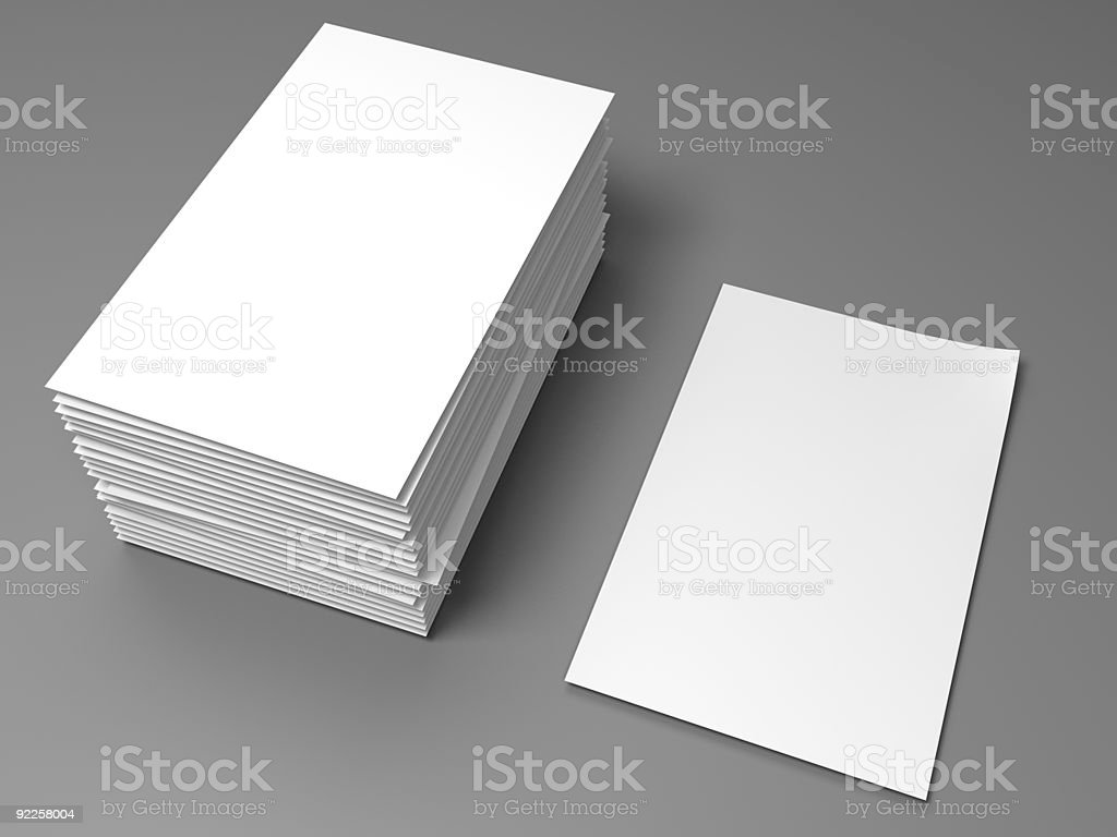 blank white papersheet with stack on clean gray ground, XXXL royalty-free stock photo