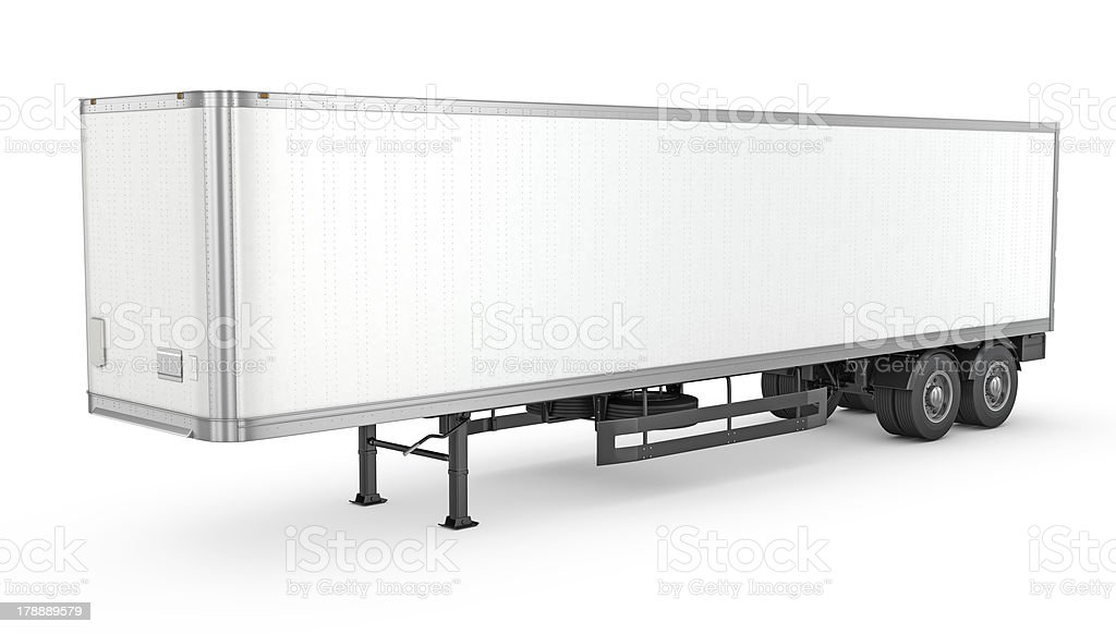 Blank white parked semi trailer stock photo