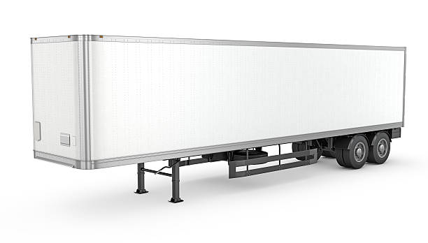 Blank white parked semi trailer Blank white parked semi trailer, isolated on white background vehicle trailer stock pictures, royalty-free photos & images