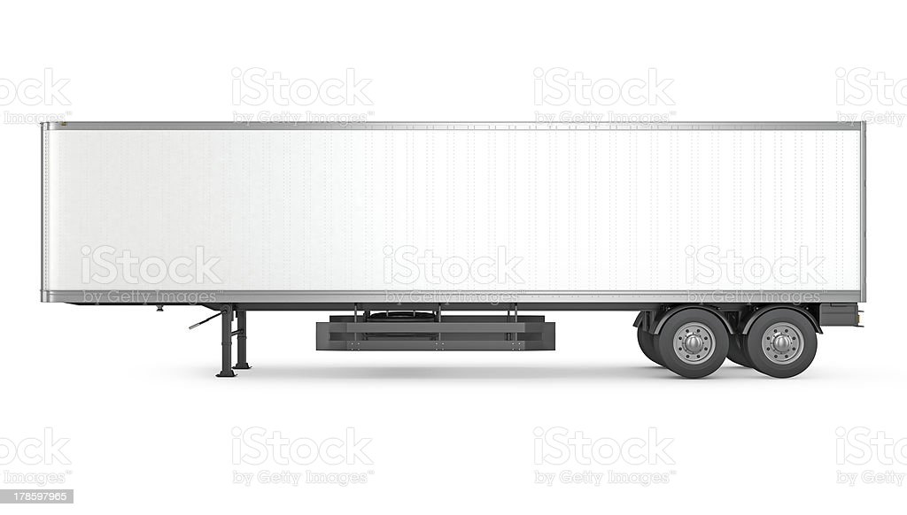 Blank white parked semi trailer, side view stock photo