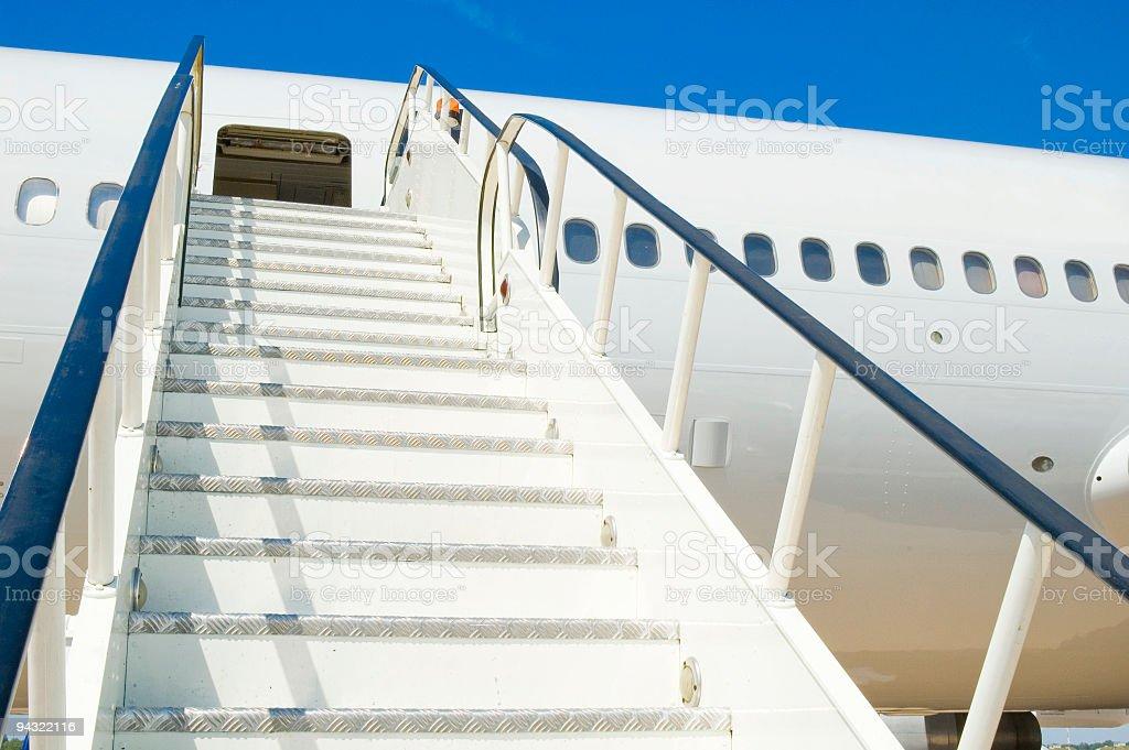 Blank white passenger plane stock photo