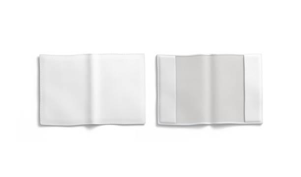 leer weißer pass-deckung mockup, vorne und hinten, isoliert - planner inserts stock-fotos und bilder