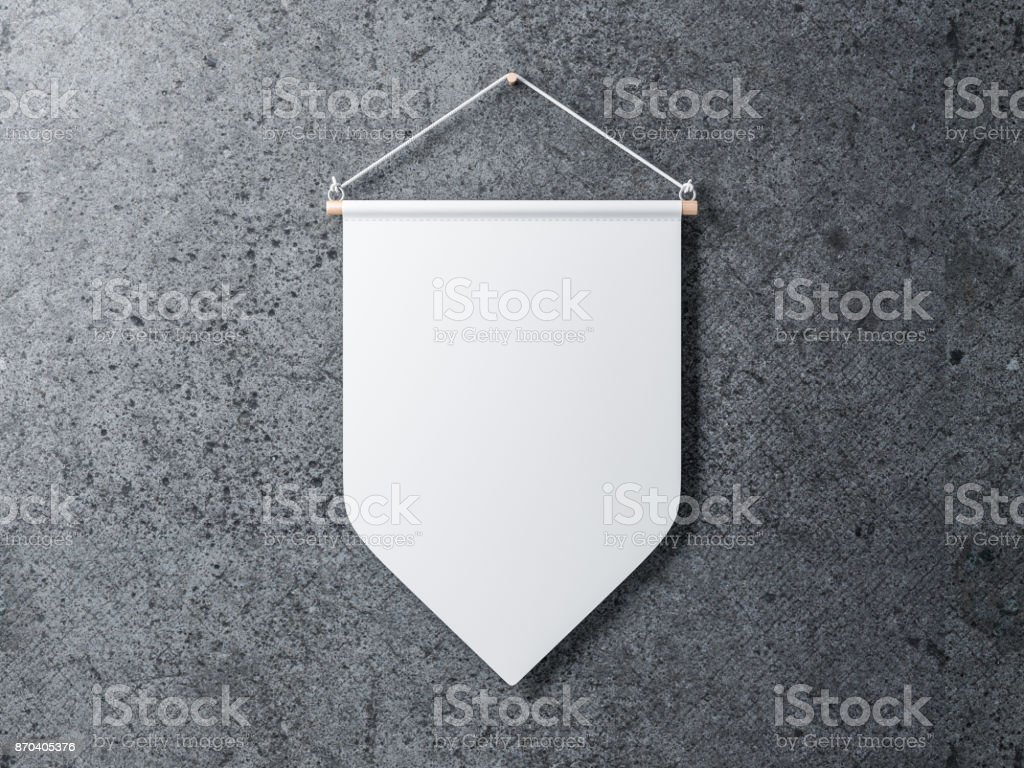 Blank White pennant hanging on a concrete wall stock photo
