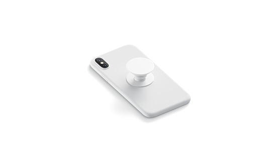 Blank white phone phone grip sticked on mobile mock up,