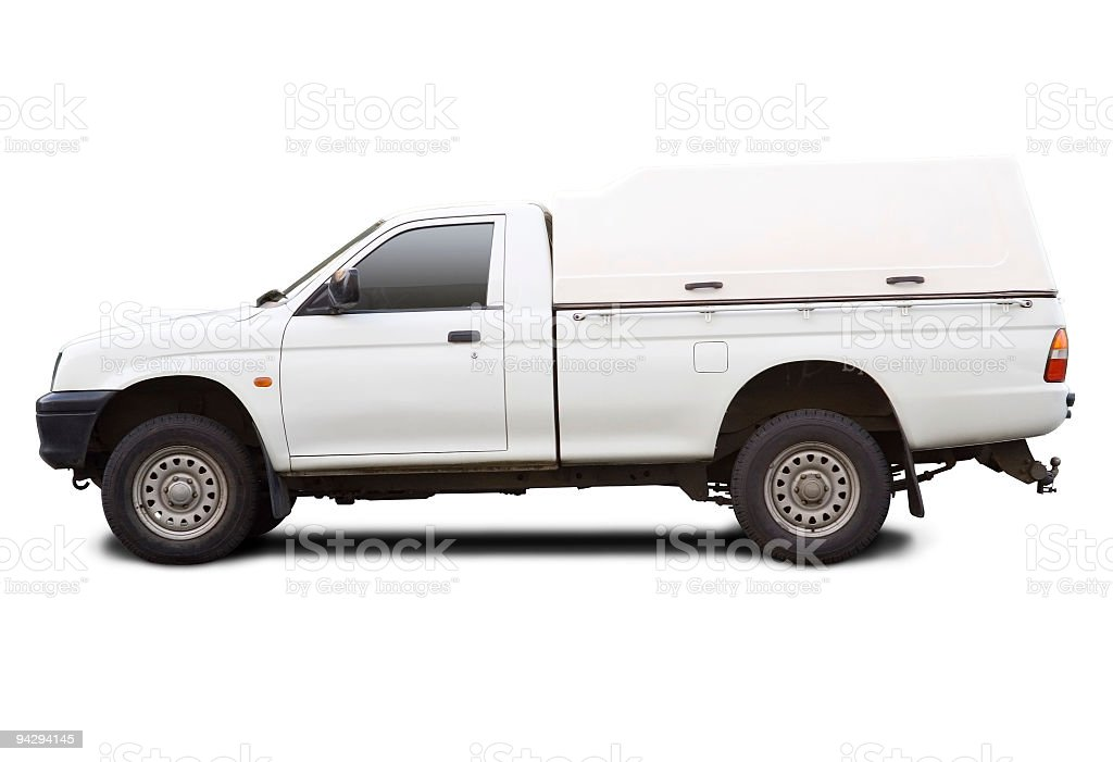 Blank white pick up truck with clipping paths royalty-free stock photo
