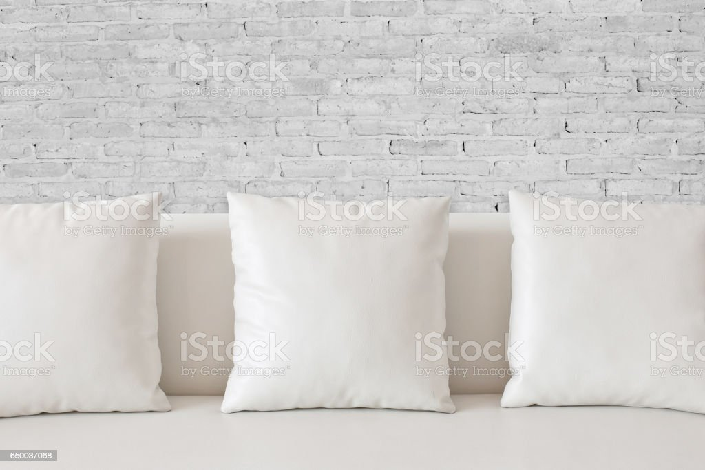 Blank white pillow case stock photo