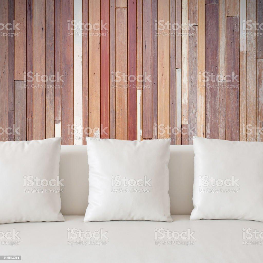 Blank white pillow stock photo