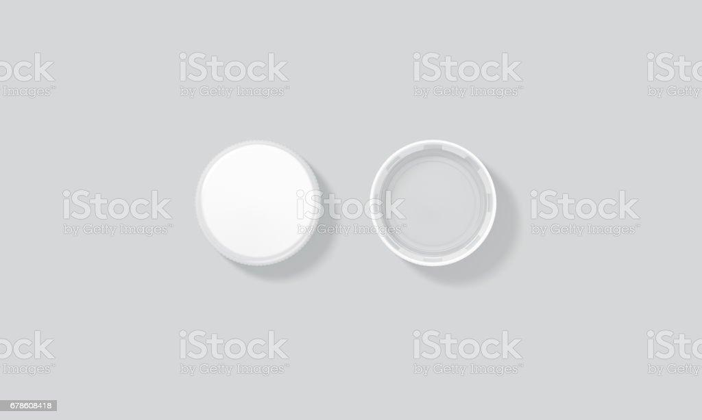 Blank white plastic bottle caps mock up set isolated, top stock photo