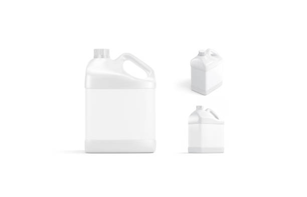 Blank white plastic canister mock up, isolated, different view stock photo