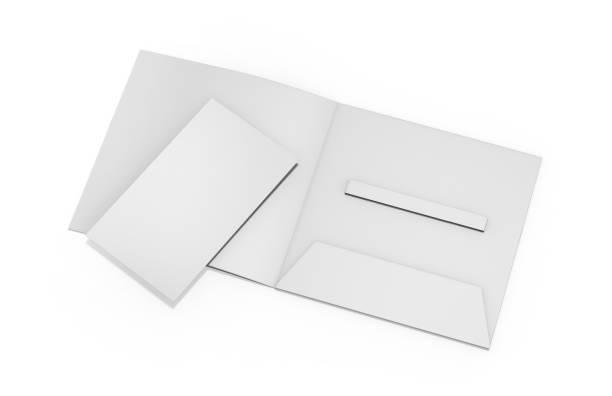 Blank white plastic card mockup inside paper booklet holder, mock up template on isolated white background, 3d illustration stock photo
