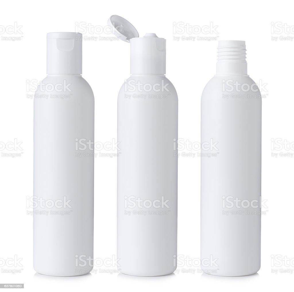 Blank white plastic cosmetics or shampoo bottles stock photo