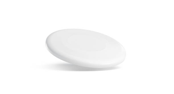 Blank white plastic frisbee mockup, isolated, no gravity Blank white plastic frisbee mockup, isolated, no gravity, 3d rendering. Empty flying disc mock up. Clear round toy for summer game in park. Air disk for print design template. plastic disc stock pictures, royalty-free photos & images