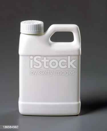 A white plastic all purpose 2 liter container.