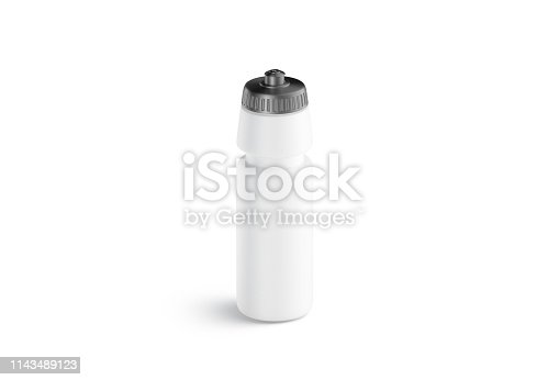 1129148925istockphoto Blank white plastic sport bottle mock up, front view, isolated 1143489123