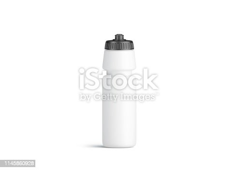 1129148925istockphoto Blank white plastic sport bottle mockup, front view, isolated 1145860928