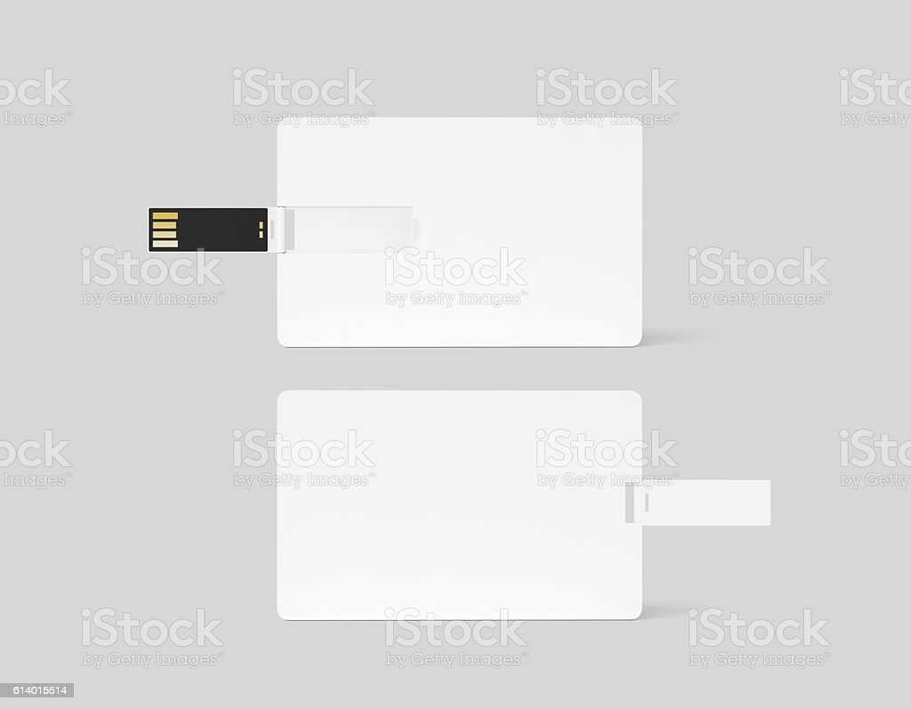 Blank white plastic wafer usb card design mockup stock photo
