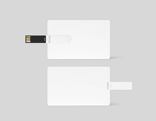 blank white plastic wafer usb card design mockup - usb kabel stock-fotos und bilder