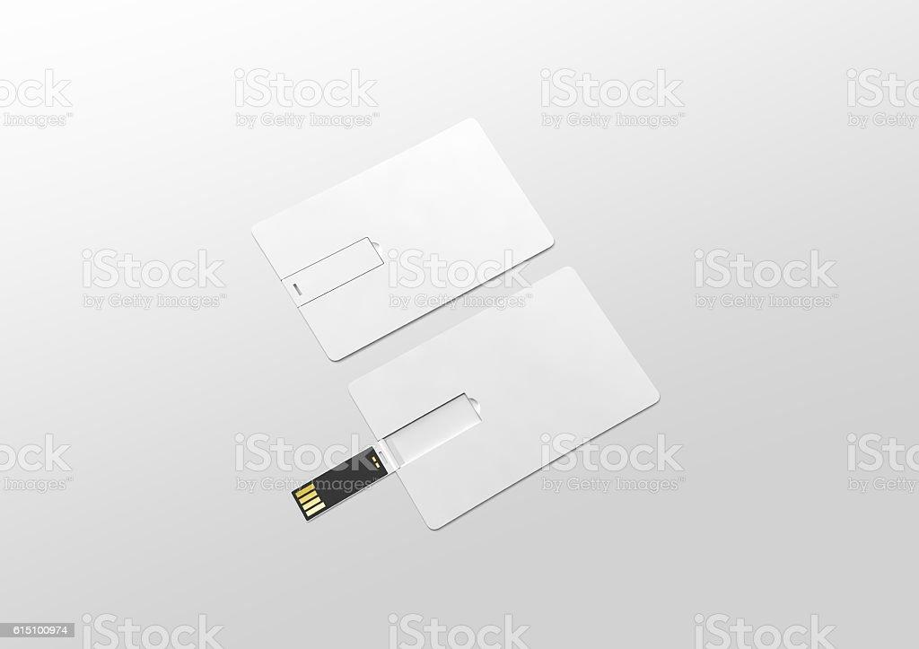 Blank white plastic wafer usb card mockup lying, opened closed stock photo