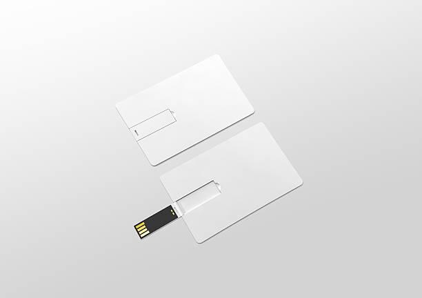 blank white plastic wafer usb card mockup lying, opened closed - usb kabel stock-fotos und bilder