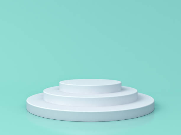 Blank white podium isolated on blue green pastel color background with reflections and shadows 3D rendering stock photo