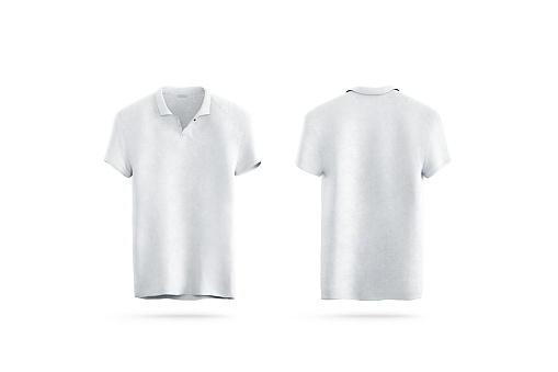 Blank white polo shirt mock up isolated, front and back side view, 3d rendering. Empty sport t-shirt uniform mockup. Plain clothing design template. Cotton clear dress with collar and short sleeves