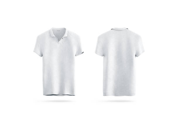 Blank white polo shirt mock up isolated, front and back stock photo