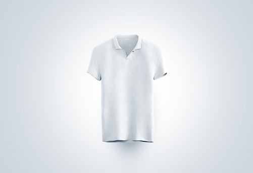 Blank white polo shirt mock up isolated, front view, 3d rendering. Empty sport t-shirt uniform mockup. Plain clothing design template. Cotton clear dress with collar and short sleeves for branding.