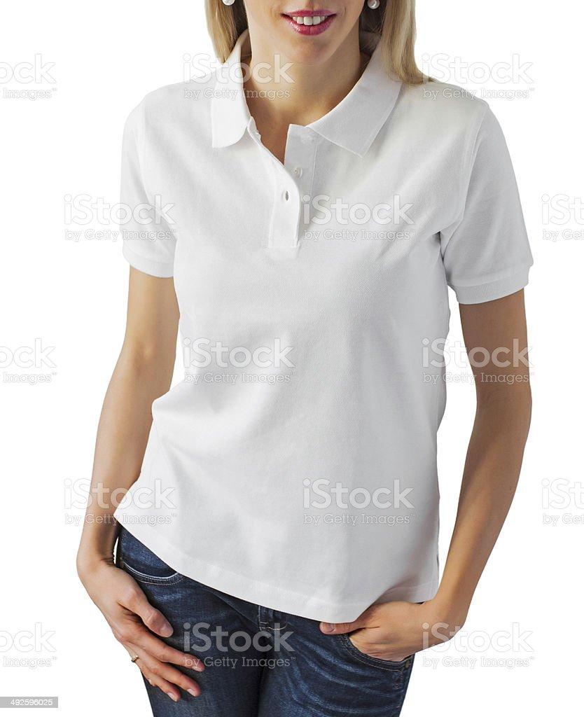 Blank white polo shirt stock photo