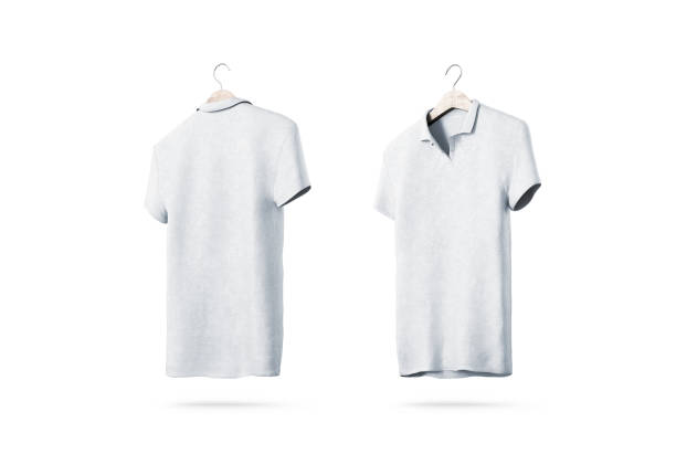 Blank white polo shirt with hanger mockup isolated, front back side view Blank white polo shirt with hanger mockup isolated, front and back side view, 3d rendering. Empty t-shirt uniform mock up. Plain clothing design template. Cotton clear with collar and short sleeves coathanger stock pictures, royalty-free photos & images