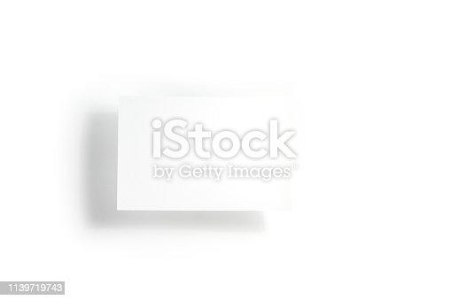 istock Blank white postcard flyer / invitation mock-up on white background 1139719743