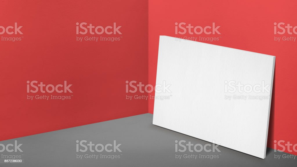 Blank white poster canvas leaning at corner in perspective red studio room,Mockup template for adding or display of product or design(3d rendering) stock photo