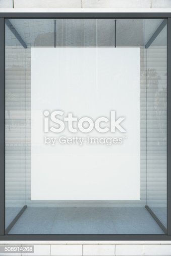 istock Blank white poster in showcase, mock up 508914268