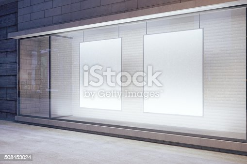 istock Blank white posters in the window 508453024