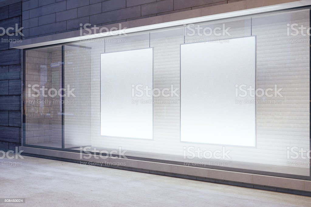 Blank white posters in the window stock photo